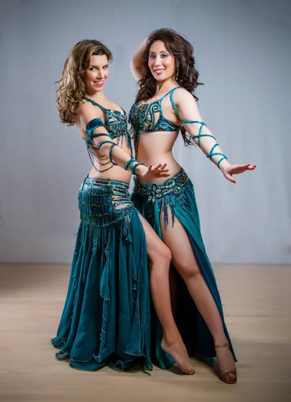 Beautiful Belly Dancers in Green Costumes. Shivaun in Nihal Costume and Lana in May Costume